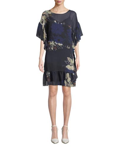 Floral-Print Chiffon Ruffle Short Dress