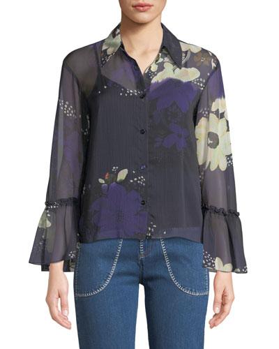 Floral-Print Chiffon Flutter-Sleeve Top