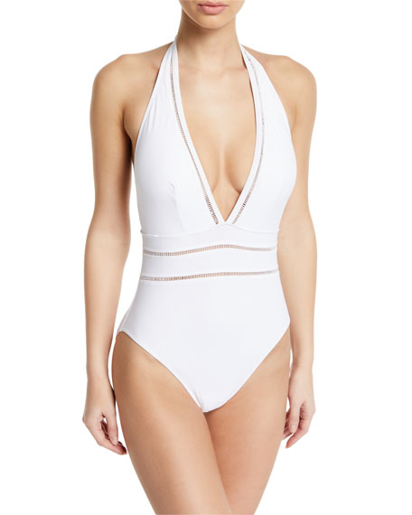 Gottex Finesse Plunging Halter One-Piece Swimsuit