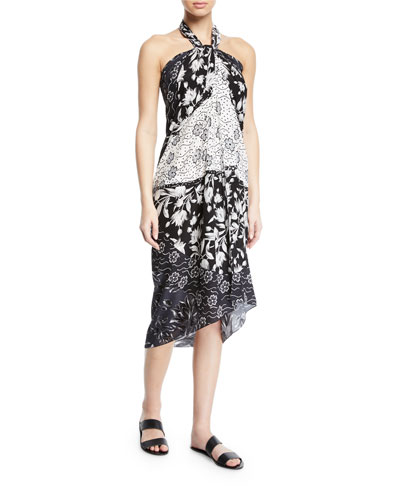 Camellia Floral Silk Coverup Pareo