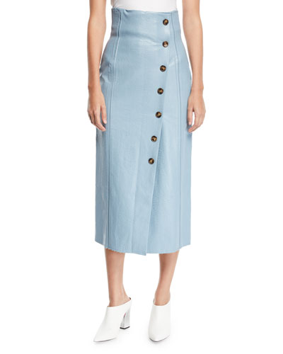 Scout Faux-Leather Button-Front Midi Skirt