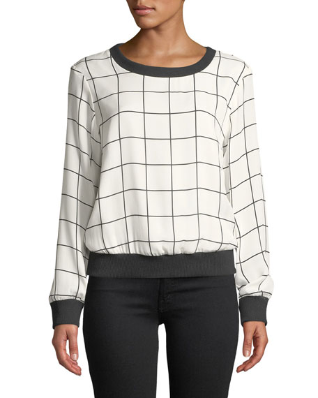 Milly Check-Print Silk Georgette Sweatshirt