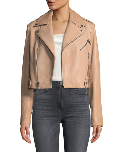 Cody Crop Lamb Leather Moto Jacket