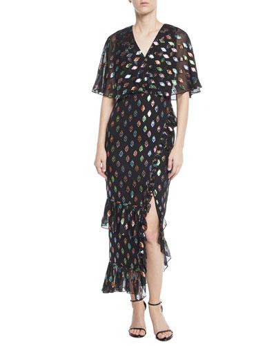 Rose V-Neck Short-Sleeve Floral-Print Devore Cocktail Dress