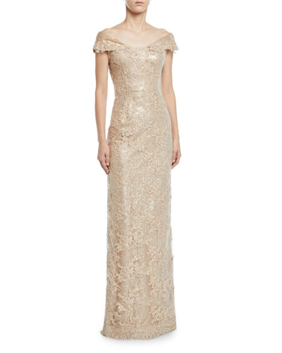 Off-the-Shoulder Embroidered Lace Gown