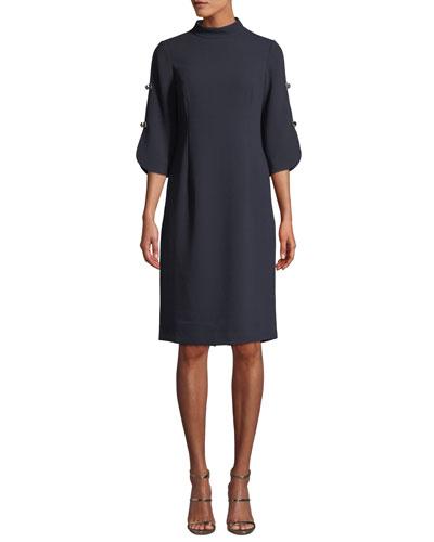 Button-Sleeve Crepe Mock-Neck Dress