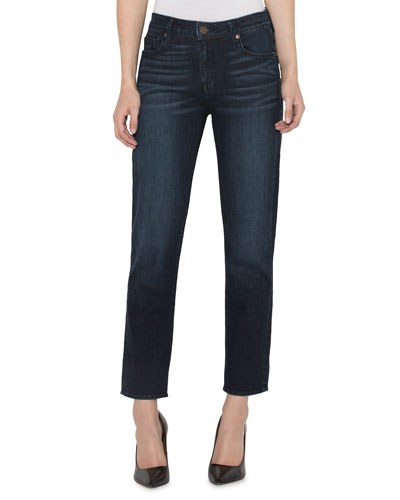 High-Rise Straight-Leg Ankle Jeans with Button Cuffs