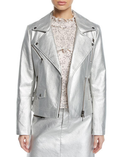 Hudson Metallic Zip-Front Moto Jacket