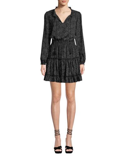 Rosemary Star-Print Long-Sleeve Short Dress