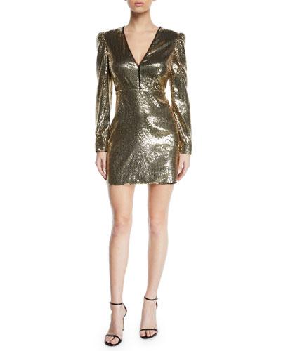 Sydney Sequined Strong-Shoulder Cocktail Dress