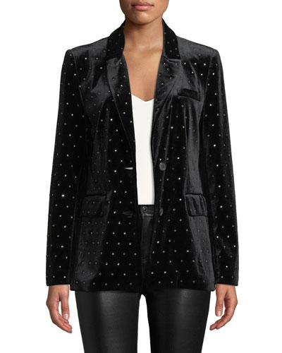 Morris Embellished Velvet Two-Button Jacket