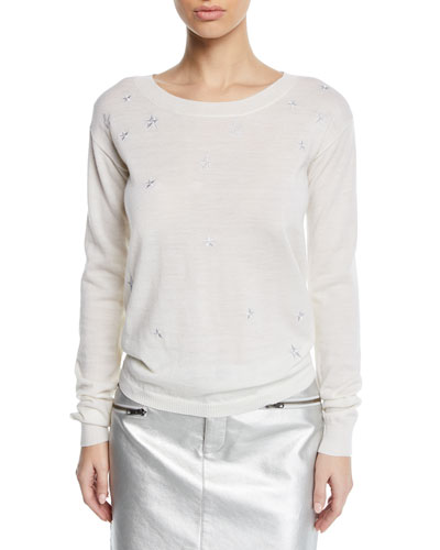 Lilita Scoop-Neck Sweater with Star Embroidery
