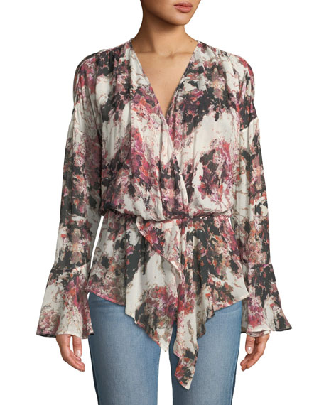 Iro Paradon Surplice Long-Sleeve Printed Top