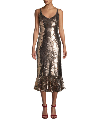 Aidan Sequined Midi Flounce Cocktail Dress