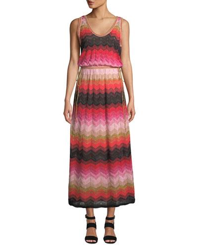 Sleeveless Long Chevron Knit Gown
