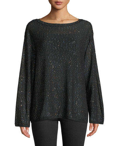 Long-Sleeve Tunic With Mini Sequins