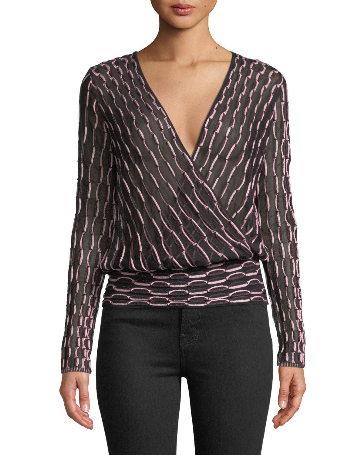 08356e8a052aff M Missoni Long-Sleeve V-Neck Jacquard Top