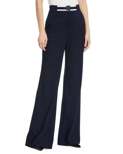 Maldon Belted High-Rise Wide-Leg Pants