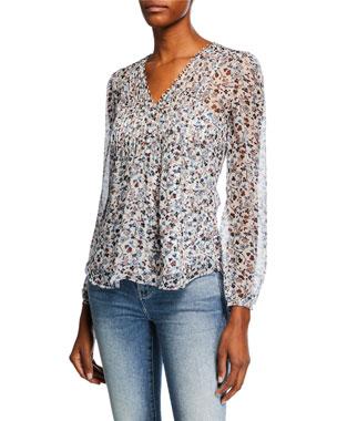 6fdf6f0c89e5f Veronica Beard Lowell V-Neck Long-Sleeve Floral-Print Blouse