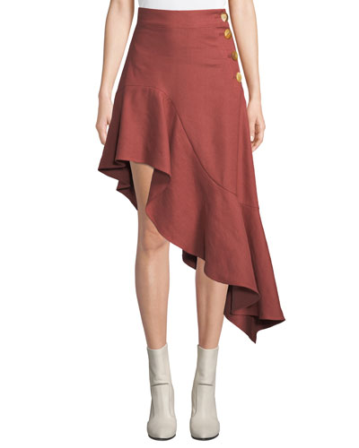Ella High-Waist Asymmetric Flounce Skirt