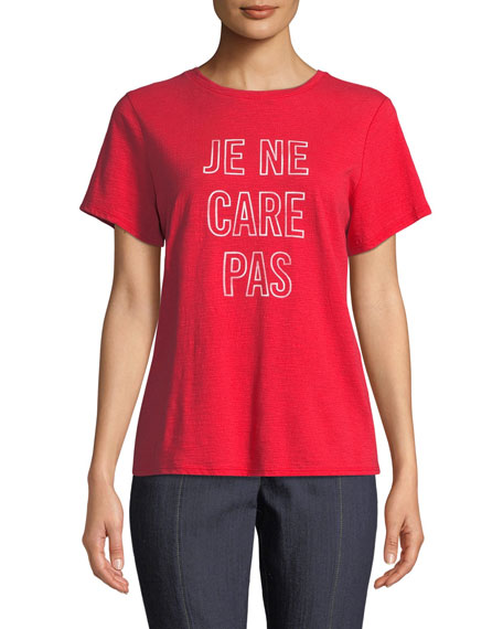 Je Ne Care Pas Short-Sleeve Graphic Tee in Red