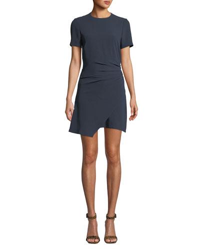 Imogen Ruched Crepe Short Tee Dress