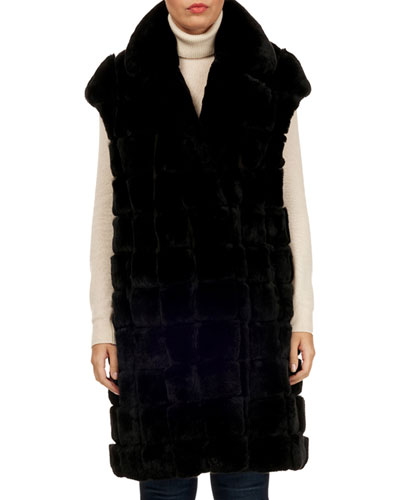 Rabbit Fur Notched-Collar Vest