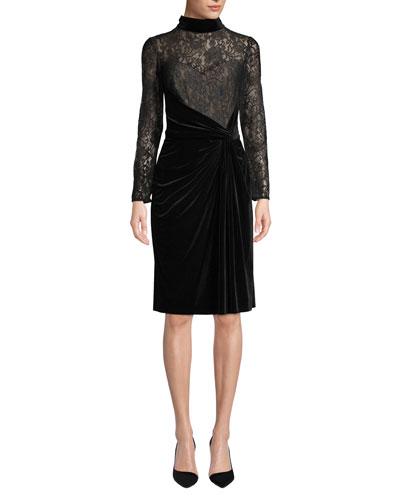 Lace Long-Sleeve & Velvet Ruched Dress
