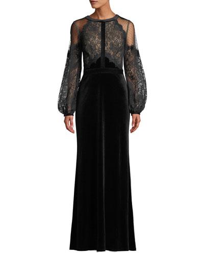 Halter-Illusion Long-Sleeve Lace & Velvet Gown