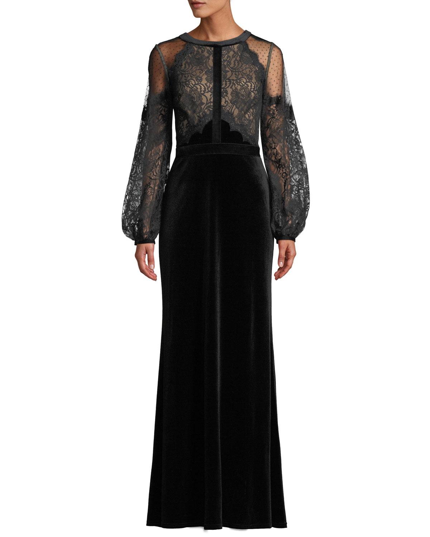 Tadashi Shoji Halter-Illusion Long-Sleeve Lace & Velvet Gown ...