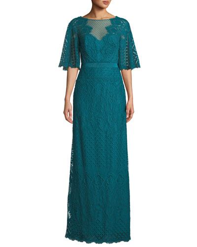 Paxe Lace Flutter-Sleeve Gown