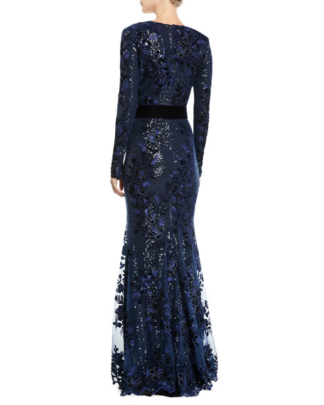 Sequin Long-Sleeve Gown w/ Velvet Band