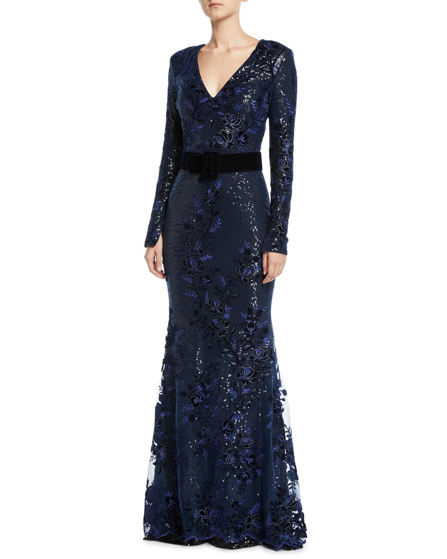 Badgley Mischka Collection Sequin Long-Sleeve Gown w/ Velvet Band ...