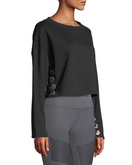 ALO YOGA Cottons SUSPENSION LACE-UP CROPPED PULLOVER SWEATER