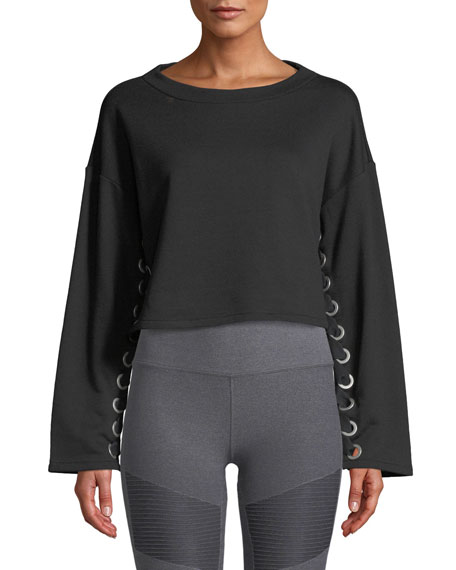 Alo Yoga Suspension Lace-Up Cropped Pullover Sweater