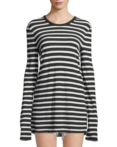 alexanderwang.t Wide Striped Slub Jersey Long-Sleeve Tee