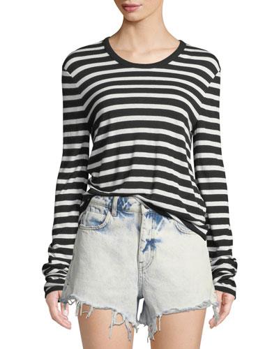 Wide Striped Slub Jersey Long-Sleeve Tee