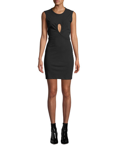 High Twist Jersey Dress with Keyhole Detail
