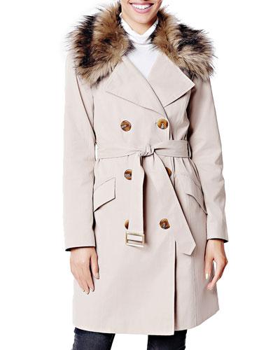 Essential Faux Fur-Collar Trench Coat