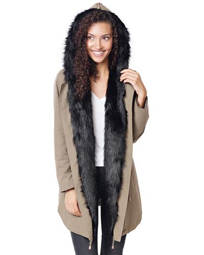 Faux Fur Anorak w/ Convertible Hood