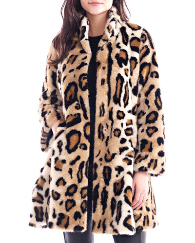 Faux Fur Leopard Swing Coat