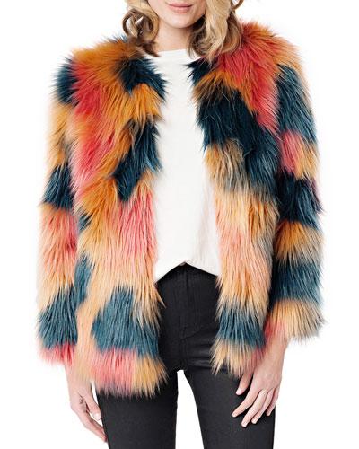 Cosmopolitan Multicolor Faux Fur Coat