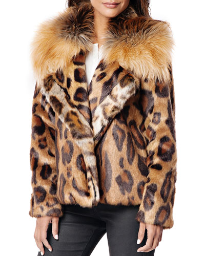 Downtown Leopard Faux Fur Coat