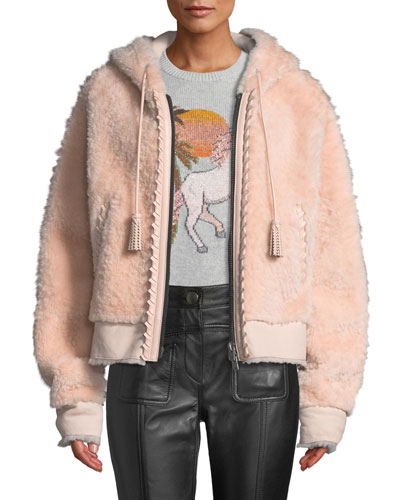 Zip-Front Shearling Hoodie with Leather Trim