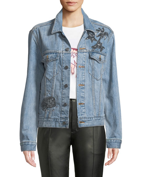 Coach Embellished Denim Trucker Jacket