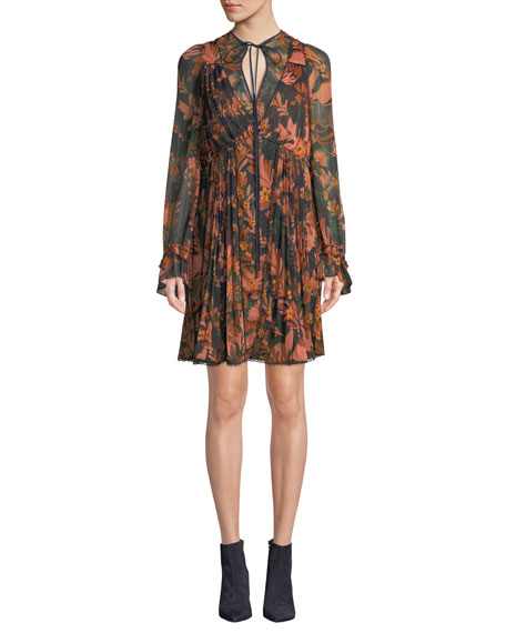 Coach Forest Floral-Print Pleated Long-Sleeve Dress