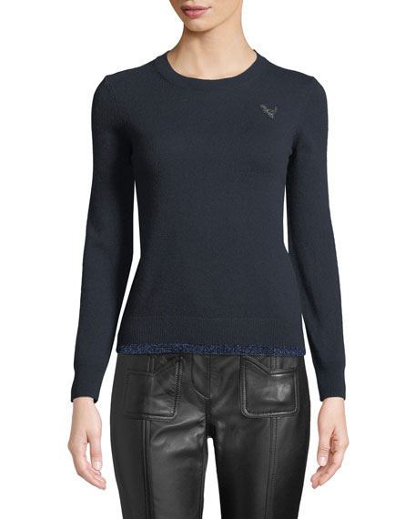 Rexy Patch Metallic Wool-Cashmere Sweater in Navy