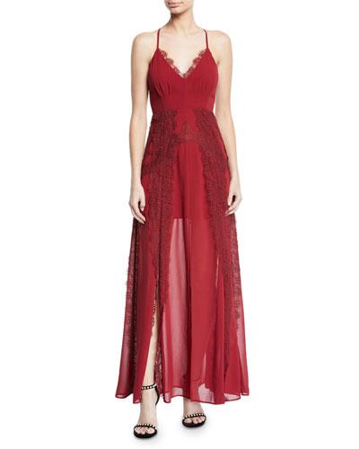 Lavinia Chiffon & Lace Maxi Dress