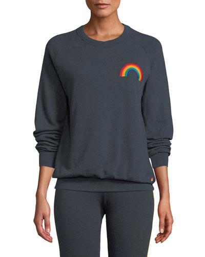 Embroidered Rainbow Crewneck Sweatshirt