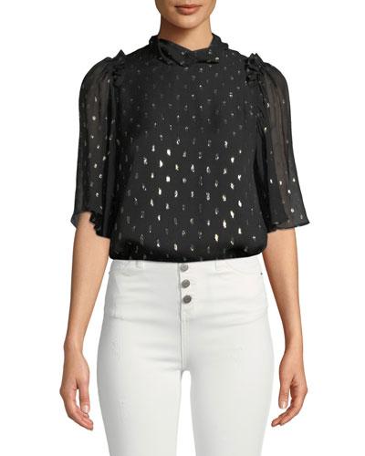 Jasmeen Flutter-Sleeve Silk Top